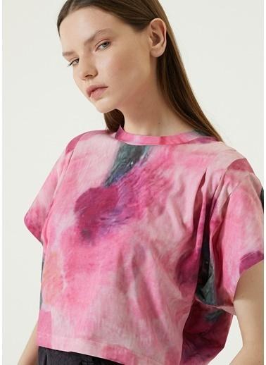 Etoile Isabel Marant Isabel Marant Zinalia  Desenli Crop T-shirt 101623771 Pembe